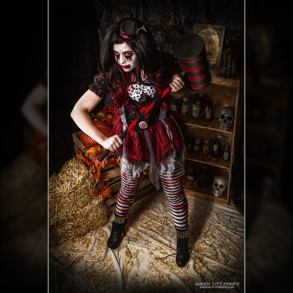 Spooky Clown at Queen City Pinups 2017 Halloween Spooktacular